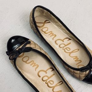 Sam Edelman Becka Nude Black Ballet Flats w/ Bow